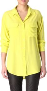 Signature Solid Shirt - neckline: shirt collar/peter pan/zip with opening; pattern: plain; length: below the bottom; style: shirt; predominant colour: yellow; occasions: casual, work; fibres: silk - 100%; fit: body skimming; back detail: longer hem at back than at front; sleeve length: long sleeve; sleeve style: standard; texture group: silky - light; pattern type: fabric