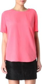 Riley T Shirt - pattern: plain; style: t-shirt; predominant colour: pink; occasions: evening; length: standard; fibres: silk - 100%; fit: loose; neckline: crew; sleeve length: short sleeve; sleeve style: standard; texture group: crepes; pattern type: fabric