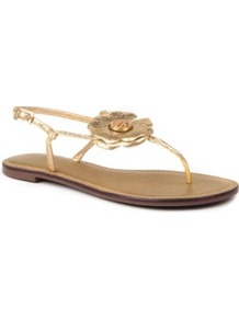 Shelby Leather Sandals - predominant colour: gold; occasions: casual, evening, holiday; material: leather; heel height: flat; heel: standard; toe: toe thongs; style: flip flops / toe post; trends: metallics; finish: metallic; pattern: plain; embellishment: corsage