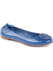 Reva Leather Pumps - predominant colour: royal blue; occasions: casual; material: leather; heel height: flat; embellishment: snaffles; toe: round toe; style: ballerinas / pumps; finish: patent; pattern: plain