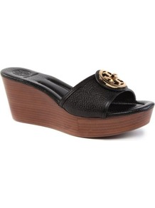 Selma Leather Wedge Sandals - secondary colour: chocolate brown; predominant colour: black; occasions: casual, holiday; material: leather; heel height: mid; heel: wedge; toe: open toe/peeptoe; style: slides; finish: plain; pattern: plain; embellishment: chain/metal