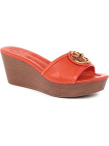 Selma Leather Wedge Sandals - predominant colour: true red; occasions: casual, holiday; material: leather; heel height: mid; heel: wedge; toe: open toe/peeptoe; style: slides; finish: plain; pattern: plain; embellishment: applique