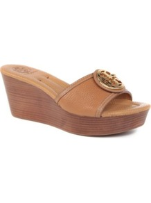 Selma Leather Wedge Sandals - secondary colour: chocolate brown; predominant colour: tan; occasions: casual, holiday; material: leather; heel height: mid; heel: wedge; toe: open toe/peeptoe; style: slides; finish: plain; pattern: plain; embellishment: applique