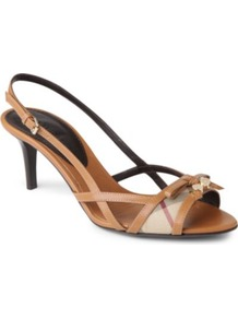 Haymarket Rowan Mid Heel Sandals - predominant colour: tan; occasions: evening, work; material: leather; heel height: mid; heel: kitten; toe: open toe/peeptoe; style: strappy; finish: plain; pattern: checked/gingham; embellishment: bow