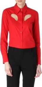Cut Out Shirt - neckline: shirt collar/peter pan/zip with opening; pattern: plain; bust detail: added detail/embellishment at bust; style: shirt; predominant colour: true red; occasions: casual, evening, work; length: standard; fibres: cotton - 100%; fit: tailored/fitted; back detail: longer hem at back than at front; sleeve length: long sleeve; sleeve style: standard; texture group: cotton feel fabrics; pattern type: fabric