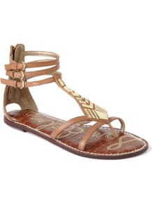 Genna Leather Sandals - predominant colour: tan; occasions: casual, holiday; material: leather; heel height: flat; ankle detail: ankle strap; heel: standard; toe: toe thongs; style: gladiators; finish: plain; pattern: plain; embellishment: chain/metal