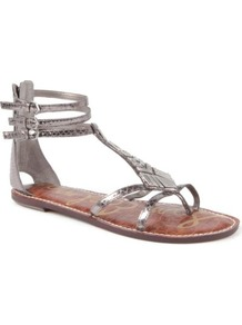 Genna Leather Sandals - predominant colour: silver; occasions: casual, evening, holiday; material: leather; heel height: flat; ankle detail: ankle strap; heel: standard; toe: toe thongs; style: gladiators; trends: metallics; finish: metallic; pattern: animal print; embellishment: chain/metal