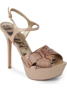 Mason Python Print Sandals - predominant colour: stone; occasions: evening, occasion; material: leather; ankle detail: ankle strap; heel: platform; toe: open toe/peeptoe; style: standard; finish: patent; pattern: animal print; heel height: very high
