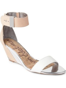 Sophie Wedge Sandals - predominant colour: white; secondary colour: nude; occasions: evening, holiday; material: leather; heel height: mid; embellishment: buckles; ankle detail: ankle strap; heel: wedge; toe: open toe/peeptoe; style: standard; finish: plain; pattern: plain