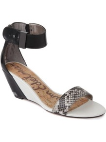 Sophie Wedge Sandals - secondary colour: white; predominant colour: black; occasions: casual, evening, work, holiday; material: leather; heel height: mid; ankle detail: ankle strap; heel: wedge; toe: open toe/peeptoe; style: standard; finish: plain; pattern: animal print
