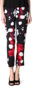 Bennet Print Trousers - waist detail: elasticated waist; waist: mid/regular rise; secondary colour: true red; predominant colour: navy; occasions: casual, evening, work, occasion; length: ankle length; trends: statement prints; fit: straight leg; pattern type: fabric; pattern size: standard; pattern: patterned/print; texture group: other - light to midweight; style: standard; fibres: silk - stretch