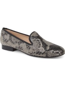 Snake Print Slippers - secondary colour: black; occasions: casual, evening, work; material: leather; heel height: flat; toe: round toe; style: loafers; predominant colour: monochrome; finish: plain; pattern: animal print