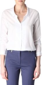 Cotton Shirt - neckline: shirt collar/peter pan/zip with opening; pattern: plain; length: below the bottom; style: shirt; predominant colour: white; occasions: casual, work; fibres: cotton - 100%; fit: loose; sleeve length: long sleeve; sleeve style: standard; texture group: cotton feel fabrics; pattern type: fabric
