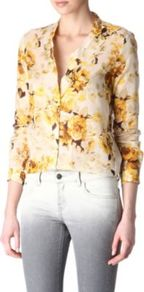 Floral Shirt - neckline: shirt collar/peter pan/zip with opening; style: shirt; predominant colour: primrose yellow; occasions: casual, work, holiday; length: standard; fibres: cotton - 100%; fit: body skimming; sleeve length: long sleeve; sleeve style: standard; texture group: cotton feel fabrics; trends: high impact florals; pattern type: fabric; pattern size: big &amp; busy; pattern: florals
