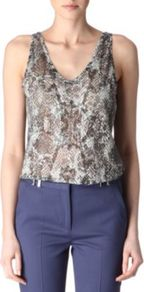 Snake Print Vest - neckline: low v-neck; sleeve style: standard vest straps/shoulder straps; style: vest top; secondary colour: taupe; predominant colour: mid grey; occasions: evening; length: standard; fibres: polyester/polyamide - mix; fit: straight cut; sleeve length: sleeveless; texture group: sheer fabrics/chiffon/organza etc.; pattern type: fabric; pattern size: big & busy; pattern: animal print