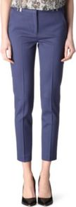 Relaxed Straight Leg Trousers - length: standard; pattern: plain; waist: mid/regular rise; predominant colour: navy; occasions: evening, work; fibres: wool - stretch; fit: straight leg; pattern type: fabric; texture group: other - light to midweight; style: standard