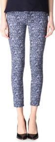 Bandana Print Skinny Mid Rise Jeans - style: skinny leg; pattern: paisley; pocket detail: traditional 5 pocket; waist: mid/regular rise; predominant colour: denim; occasions: casual, evening; length: ankle length; fibres: cotton - mix; texture group: denim; trends: statement prints; pattern type: fabric; pattern size: small & busy