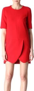 Panelled Dress - style: shift; length: mini; pattern: plain; predominant colour: true red; occasions: casual, evening, occasion; fit: soft a-line; neckline: crew; sleeve length: half sleeve; sleeve style: standard; pattern type: fabric; texture group: woven light midweight; fibres: viscose/rayon - mix
