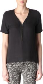 Silk Zipped Top - neckline: v-neck; pattern: plain; bust detail: buttons at bust (in middle at breastbone)/zip detail at bust; predominant colour: black; occasions: casual, evening, work; length: standard; style: top; fibres: silk - 100%; fit: straight cut; sleeve length: short sleeve; sleeve style: standard; texture group: sheer fabrics/chiffon/organza etc.; pattern type: fabric