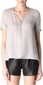Silk Zipped Top - neckline: v-neck; pattern: plain; bust detail: buttons at bust (in middle at breastbone)/zip detail at bust; predominant colour: stone; occasions: evening; length: standard; style: top; fibres: silk - 100%; fit: straight cut; sleeve length: short sleeve; sleeve style: standard; texture group: sheer fabrics/chiffon/organza etc.; pattern type: fabric