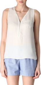 Silk Zipped Vest - neckline: v-neck; pattern: plain; sleeve style: sleeveless; predominant colour: white; occasions: casual, holiday; length: standard; style: top; fibres: silk - 100%; fit: body skimming; sleeve length: sleeveless; texture group: sheer fabrics/chiffon/organza etc.; pattern type: fabric