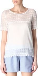 Embroidered Lace Top - neckline: v-neck; pattern: plain; predominant colour: white; occasions: casual, holiday; length: standard; style: top; fibres: silk - mix; fit: straight cut; sleeve length: short sleeve; sleeve style: standard; texture group: lace; pattern type: fabric; embellishment: lace