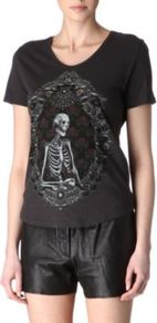 Skeleton T Shirt - neckline: round neck; style: t-shirt; secondary colour: white; predominant colour: black; occasions: casual; length: standard; fibres: cotton - 100%; fit: body skimming; bust detail: contrast pattern/fabric/detail at bust; sleeve length: short sleeve; sleeve style: standard; trends: statement prints; pattern type: fabric; pattern size: big & busy; pattern: patterned/print; texture group: jersey - stretchy/drapey