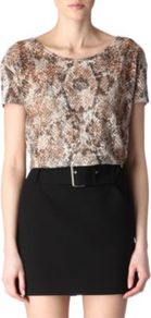 Snake Print Top - neckline: round neck; predominant colour: camel; occasions: casual, work; length: standard; style: top; fibres: cotton - mix; fit: straight cut; sleeve length: short sleeve; sleeve style: standard; texture group: sheer fabrics/chiffon/organza etc.; pattern type: fabric; pattern size: big &amp; busy; pattern: animal print
