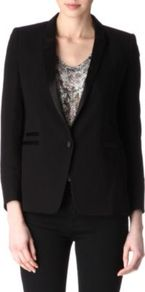 Satin Lapels Blazer - pattern: plain; style: single breasted blazer; collar: standard lapel/rever collar; predominant colour: black; occasions: evening, work, occasion; length: standard; fit: tailored/fitted; sleeve length: long sleeve; sleeve style: standard; texture group: crepes; trends: tuxedo; collar break: medium; pattern type: fabric; fibres: viscose/rayon - mix