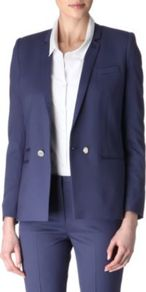 Wool Blazer - pattern: plain; style: single breasted blazer; collar: standard lapel/rever collar; predominant colour: navy; occasions: casual, evening, work; length: standard; fit: tailored/fitted; fibres: wool - stretch; sleeve length: long sleeve; sleeve style: standard; texture group: crepes; trends: tuxedo; collar break: medium; pattern type: fabric