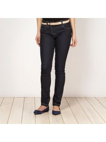 Designer Dark Blue Belted Skinny Jeans - style: skinny leg; length: standard; pattern: plain; pocket detail: traditional 5 pocket; waist: mid/regular rise; predominant colour: navy; occasions: casual; fibres: cotton - stretch; jeans detail: dark wash; texture group: denim; pattern type: fabric