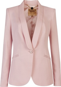 Ted Baker Jayne Tuxedo Suit Jacket - pattern: plain; style: single breasted tuxedo; collar: shawl/waterfall; predominant colour: blush; occasions: evening, work, occasion; length: standard; fit: tailored/fitted; fibres: viscose/rayon - stretch; sleeve length: long sleeve; sleeve style: standard; trends: tuxedo; collar break: medium; pattern type: fabric; texture group: woven light midweight