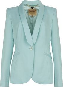 Ted Baker Jayne Tuxedo Suit Jacket - pattern: plain; style: single breasted tuxedo; collar: shawl/waterfall; predominant colour: turquoise; occasions: evening, occasion; length: standard; fit: tailored/fitted; fibres: viscose/rayon - stretch; sleeve length: long sleeve; sleeve style: standard; trends: tuxedo; collar break: medium; pattern type: fabric; texture group: woven light midweight