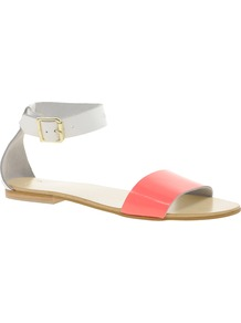 Flock Leather Flat Sandals - secondary colour: white; predominant colour: coral; occasions: casual, holiday; material: leather; heel height: flat; ankle detail: ankle strap; heel: standard; toe: open toe/peeptoe; style: standard; finish: patent; pattern: colourblock