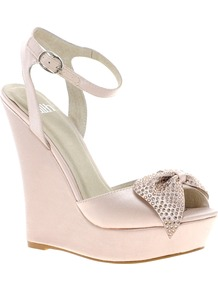 Ledge Satin Evening Wedges - predominant colour: nude; occasions: evening, occasion; material: satin; embellishment: crystals; ankle detail: ankle strap; heel: wedge; toe: open toe/peeptoe; style: slingbacks; finish: plain; pattern: plain; heel height: very high