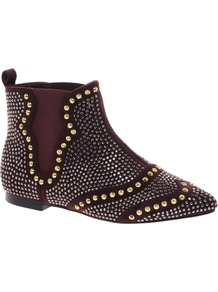 Audition Studded Ankle Boots - predominant colour: burgundy; secondary colour: gold; occasions: casual; material: fabric; heel height: flat; embellishment: studs; heel: standard; toe: pointed toe; boot length: ankle boot; style: standard; finish: plain; pattern: patterned/print