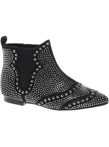 Audition Studded Ankle Boots - predominant colour: black; occasions: casual, evening; material: fabric; heel height: flat; embellishment: studs; heel: standard; toe: pointed toe; boot length: ankle boot; style: standard; finish: plain; pattern: patterned/print
