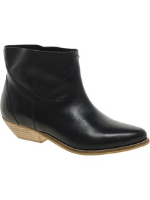 Accomplice Leather Ankle Boots - predominant colour: black; occasions: casual; material: leather; heel height: mid; heel: block; toe: pointed toe; boot length: ankle boot; style: cowboy; finish: plain; pattern: plain