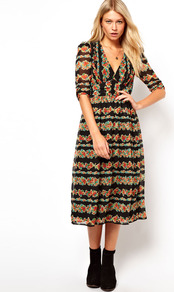 Midi Dress In Floral Stripe Print - style: shift; length: calf length; neckline: low v-neck; fit: fitted at waist; occasions: casual, evening; fibres: polyester/polyamide - 100%; predominant colour: multicoloured; sleeve length: 3/4 length; sleeve style: standard; texture group: silky - light; trends: high impact florals, statement prints; pattern type: fabric; pattern size: small & busy; pattern: florals