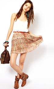 Washed Out Aztec Skirt - length: mid thigh; fit: body skimming; waist detail: elasticated waist; waist: high rise; occasions: casual, holiday; style: fit &amp; flare; fibres: viscose/rayon - 100%; predominant colour: multicoloured; trends: statement prints; pattern type: fabric; pattern size: small &amp; busy; pattern: patterned/print; texture group: jersey - stretchy/drapey