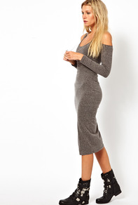 Bodycon Dress In Nepi With Cold Shoulder - length: below the knee; fit: tight; pattern: plain; style: bodycon; predominant colour: charcoal; occasions: casual; neckline: scoop; fibres: polyester/polyamide - mix; shoulder detail: cut out shoulder; sleeve length: long sleeve; sleeve style: standard; texture group: jersey - clingy; pattern type: fabric