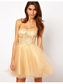 Lace Bandeau Prom Dress With Crystal Embellishment - length: mid thigh; neckline: strapless (straight/sweetheart); pattern: plain; style: prom dress; sleeve style: strapless; bust detail: added detail/embellishment at bust; waist detail: fitted waist; predominant colour: nude; occasions: evening, occasion; fit: fitted at waist &amp; bust; fibres: polyester/polyamide - 100%; sleeve length: sleeveless; hip detail: ruffles/tiers/tie detail at hip; pattern type: fabric; texture group: net/tulle; embellishment: lace