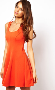 Structured Skater Dress - length: mid thigh; sleeve style: standard vest straps/shoulder straps; pattern: plain; waist detail: fitted waist; back detail: cowl/draping/scoop at back; predominant colour: bright orange; occasions: casual, evening, holiday; fit: fitted at waist & bust; style: fit & flare; neckline: scoop; fibres: polyester/polyamide - stretch; hip detail: soft pleats at hip/draping at hip/flared at hip; sleeve length: sleeveless; pattern type: fabric; texture group: jersey - stretchy/drapey