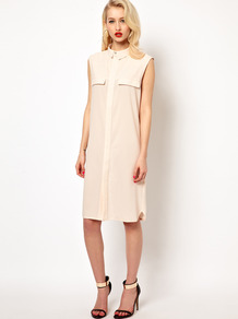Jen Shirt Dress With Open Back - style: shirt; neckline: shirt collar/peter pan/zip with opening; pattern: plain; sleeve style: sleeveless; bust detail: pocket detail at bust; back detail: low cut/open back; predominant colour: nude; occasions: evening, holiday; length: on the knee; fit: straight cut; fibres: polyester/polyamide - 100%; sleeve length: sleeveless; texture group: sheer fabrics/chiffon/organza etc.; pattern type: fabric