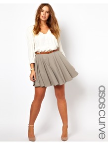 Curve Exclusive Skater Skirt With Belt - length: mid thigh; pattern: plain; fit: body skimming; waist: high rise; waist detail: belted waist/tie at waist/drawstring; predominant colour: taupe; occasions: casual, evening, work; style: fit &amp; flare; fibres: polyester/polyamide - stretch; hip detail: structured pleats at hip; pattern type: fabric; texture group: jersey - stretchy/drapey