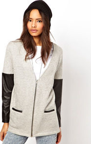 Cardigan With Zip And Pu Sleeves - neckline: low v-neck; sleeve style: raglan; pattern: plain; length: below the bottom; bust detail: buttons at bust (in middle at breastbone)/zip detail at bust; predominant colour: light grey; secondary colour: black; occasions: casual, work; style: standard; fibres: cotton - mix; fit: loose; sleeve length: long sleeve; texture group: knits/crochet; pattern type: knitted - fine stitch