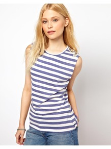 Stripe T Shirt With Embellished Shoulder - neckline: round neck; pattern: horizontal stripes; sleeve style: sleeveless; length: below the bottom; style: t-shirt; predominant colour: navy; secondary colour: denim; occasions: casual, holiday; fibres: polyester/polyamide - mix; fit: body skimming; shoulder detail: added shoulder detail; sleeve length: sleeveless; texture group: cotton feel fabrics; pattern type: fabric; pattern size: standard; embellishment: jewels