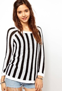 Stripe Jumper - pattern: vertical stripes; style: standard; occasions: casual, holiday; length: standard; fibres: acrylic - mix; fit: standard fit; neckline: crew; sleeve length: long sleeve; sleeve style: standard; predominant colour: monochrome; trends: striking stripes; pattern type: fabric; pattern size: big & busy; texture group: jersey - stretchy/drapey