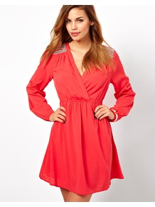 Wrap Detail Dress - style: faux wrap/wrap; length: mid thigh; neckline: low v-neck; fit: empire; pattern: plain; predominant colour: coral; occasions: evening, occasion; fibres: polyester/polyamide - 100%; hip detail: soft pleats at hip/draping at hip/flared at hip; shoulder detail: added shoulder detail; sleeve length: long sleeve; sleeve style: standard; texture group: sheer fabrics/chiffon/organza etc.; pattern type: fabric; embellishment: beading