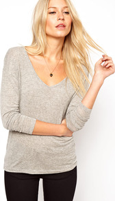 Forever Long Sleeve Top - neckline: low v-neck; pattern: plain; predominant colour: light grey; occasions: casual, work; length: standard; style: top; fibres: viscose/rayon - stretch; fit: body skimming; sleeve length: 3/4 length; sleeve style: standard; pattern type: fabric; texture group: jersey - stretchy/drapey